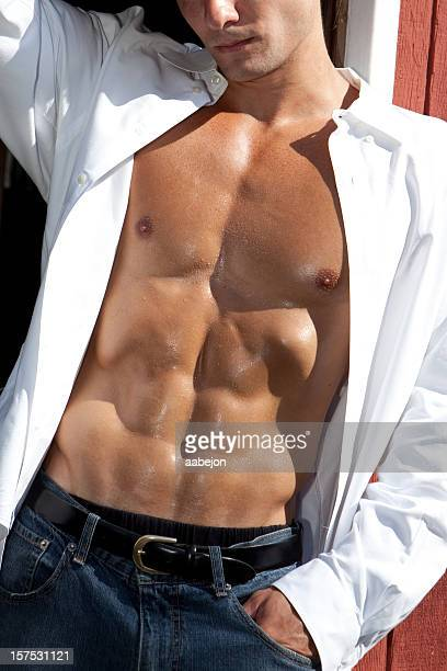 man with great abs - manhood stock photos and pictures