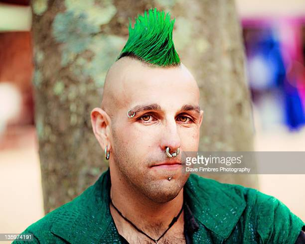 Man with green hair