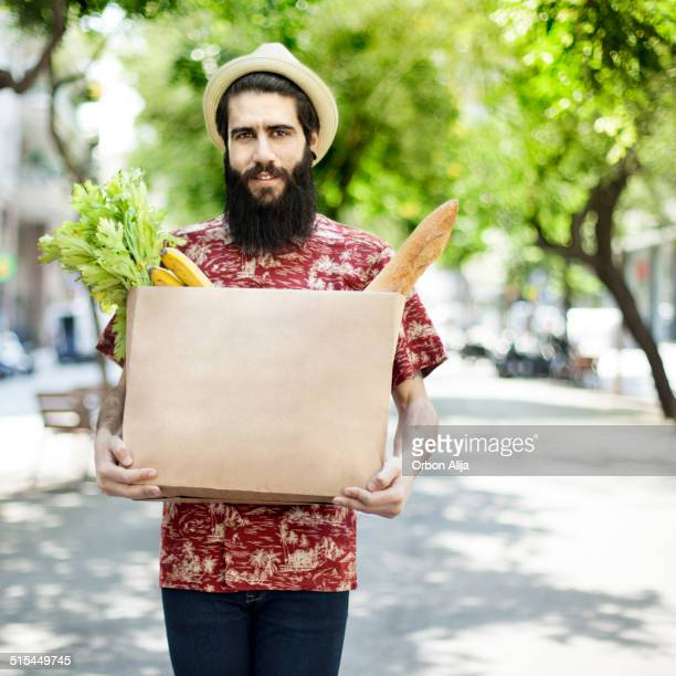 Man with grocery bag