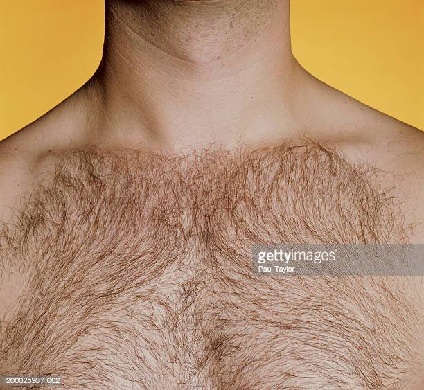 man with hairy chest, close-up - hairy chest stockfoto's en -beelden