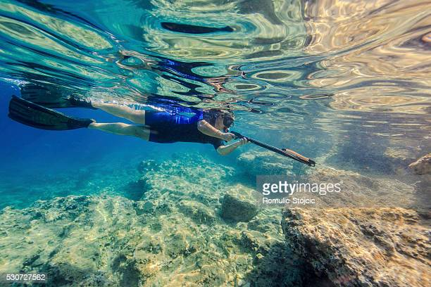 Man with Harpoon underwater, Adriatic Sea, Dalmatia, Croatia
