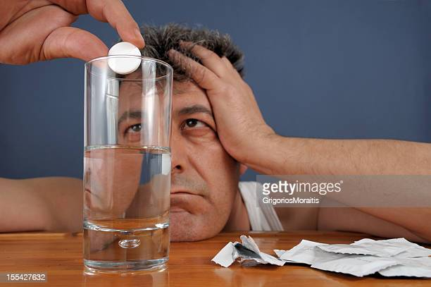 man with headache - acetaminophen stock photos and pictures
