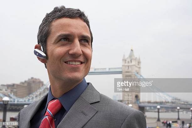 Man with headset outside