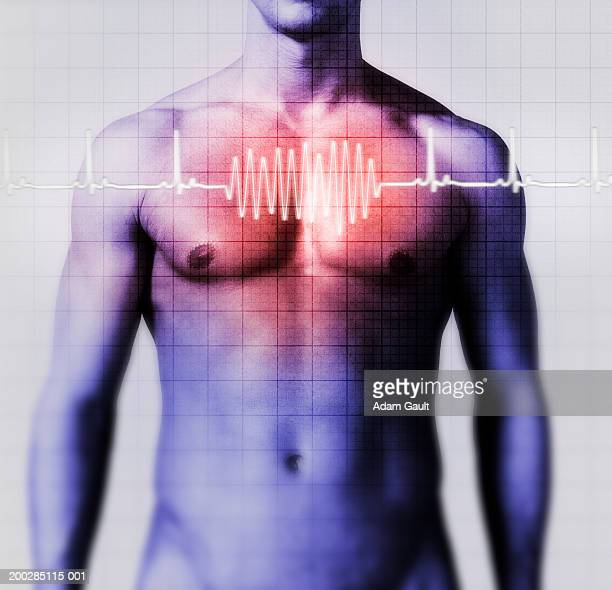 Man with heart-rate graph over chest (Digital Composite)