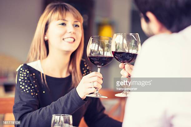 Man with her girlfriend at restaurant -  st.valentine