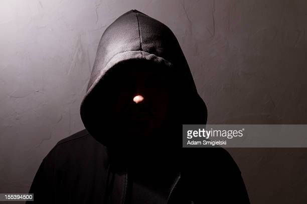 man with hidden face