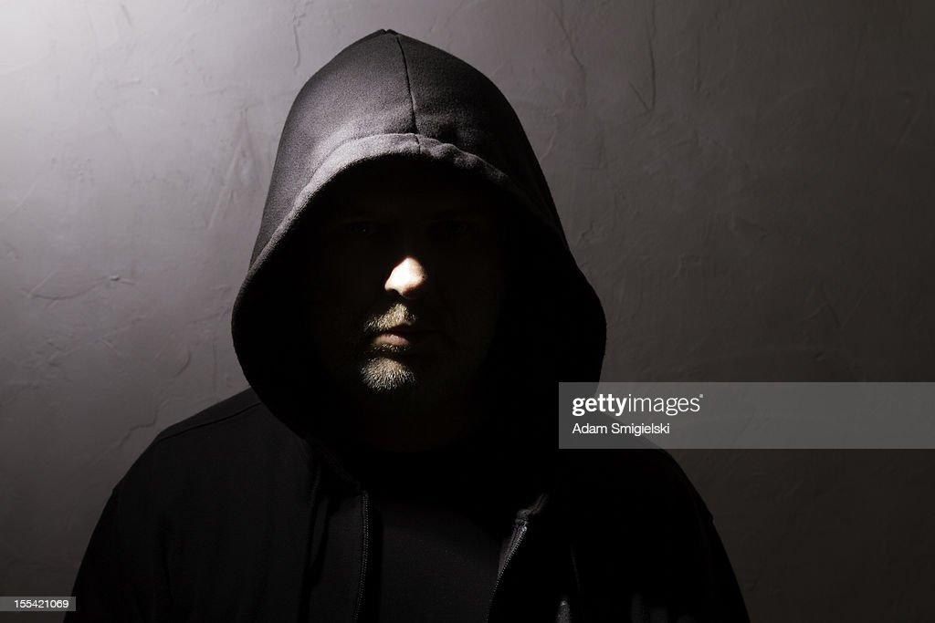 man with hidden face : Stock Photo
