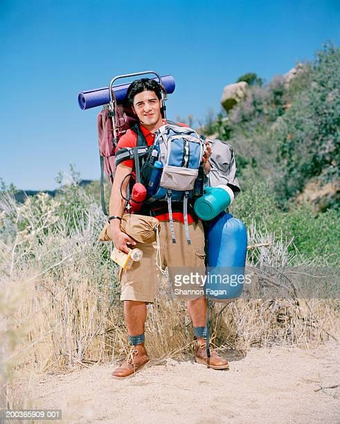 Man with hiking gear, portrait