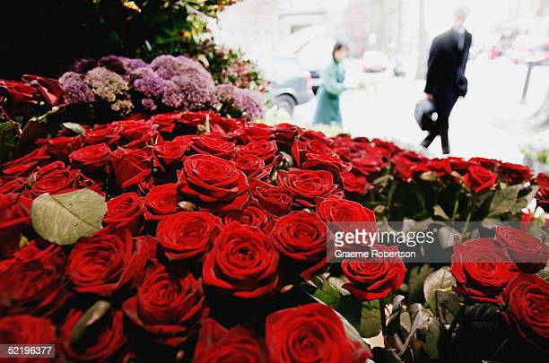 Man with his briefcase picking up flowers in a flower shop in North London, February, 2005. Lovers all over the world are celebrating Valentine's Day...