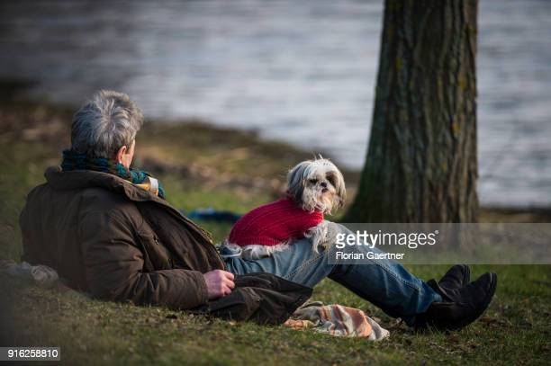 Man with his dressed dog relaxes at the banks of the Havel river on February 09, 2018 in Berlin, Germany.