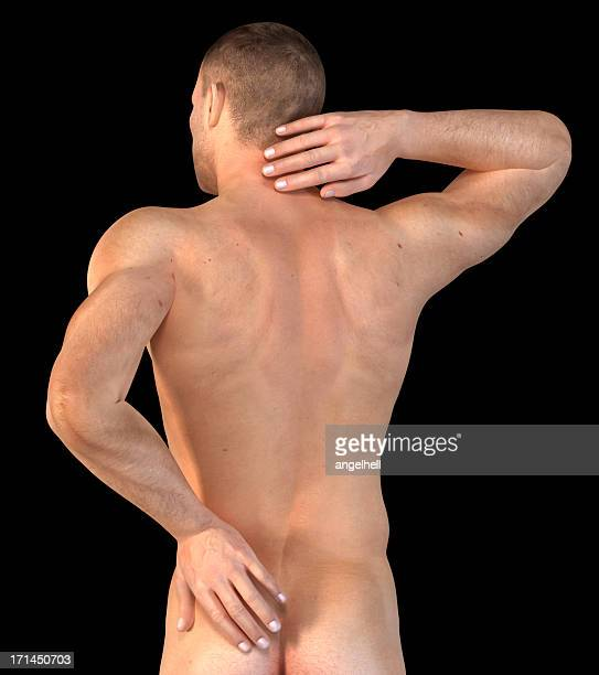 Man with his hand on neck and lower back