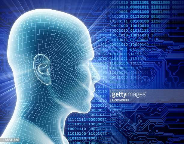 Man with hi-tech cyber theme