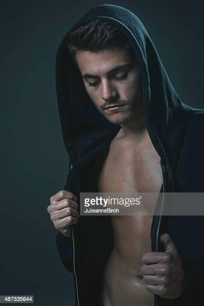 homem com casaco com capuz e ostentar peito - chest barechested bare chested imagens e fotografias de stock