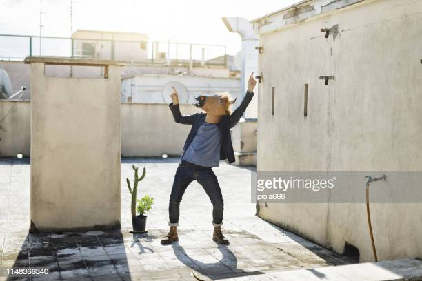 man with horse head mask and trendy style - fashion oddities stock pictures, royalty-free photos & images