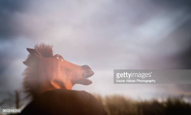 Man with horse mask looking at dramatic sky.