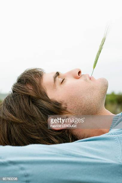Man with husk of wheat in his mouth