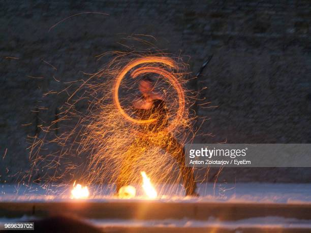 Man With Illuminated Wire Wool