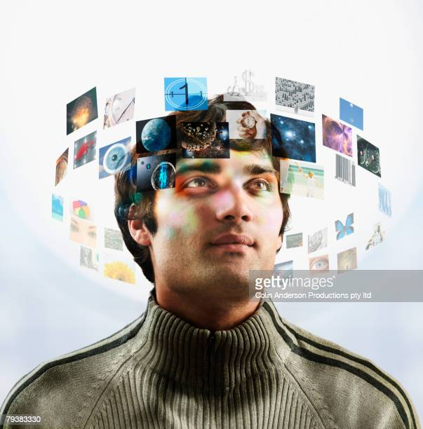 man with images circling head - big data circle stock pictures, royalty-free photos & images