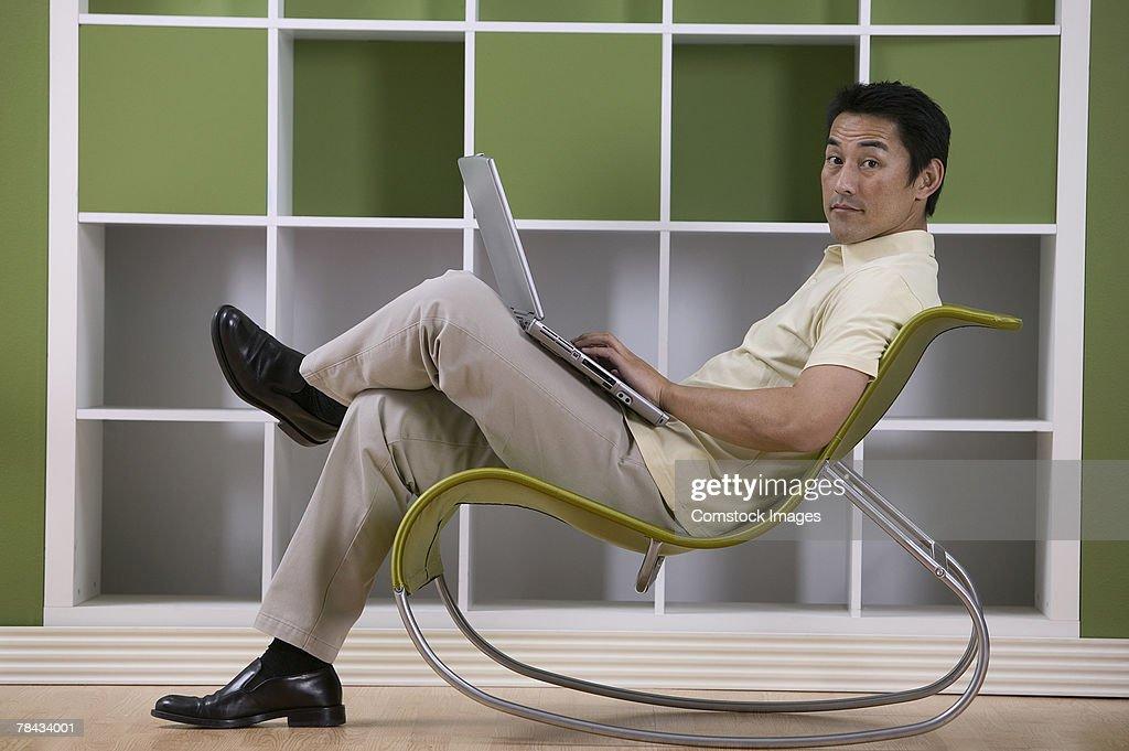 Man with laptop : Foto de stock