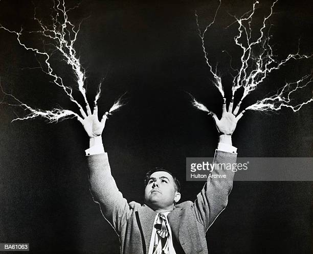 Man with lightning shooting from fingers (B&W)