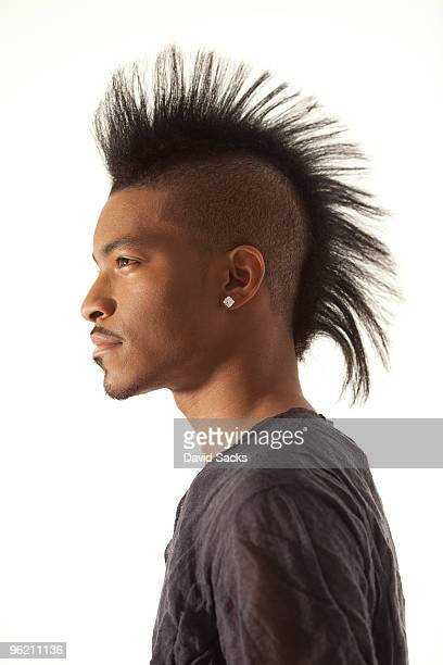 man with mohawk, side view - mohawk stock pictures, royalty-free photos & images