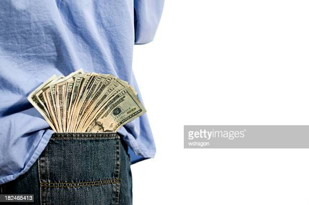 man with money in his back pocket - pocket stock photos and pictures