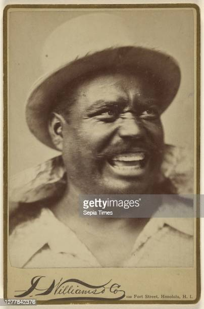 Man with moustache wearing a white hat; J. Williams & Company; 1880s; Albumen silver print.