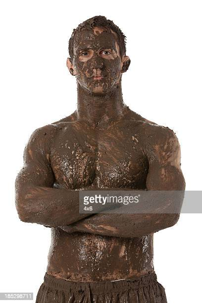 Man with mud spa