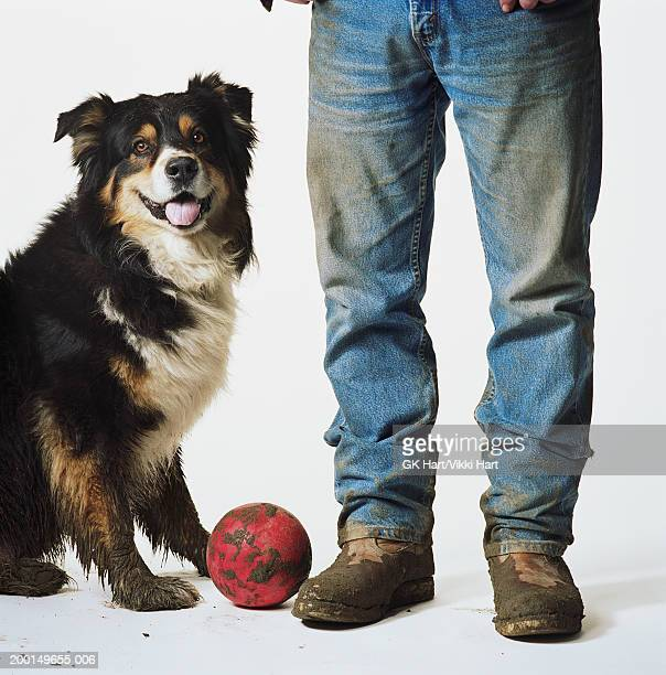 Man with muddy boots standing with Australian sheperd and red ball