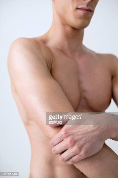 Man with painful elbow