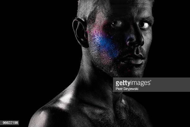 man with paint on face - body paint fotografías e imágenes de stock