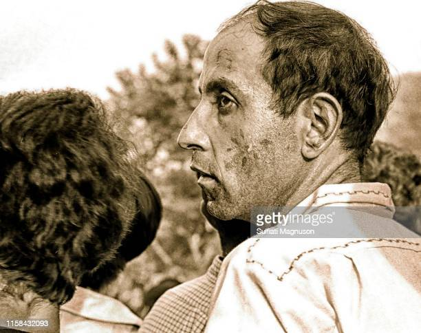 Man with painted face and a home-made, natural fiber shirt at the 1st Elysian Park Love-In on March 26, 1967 in Los Angeles, California.