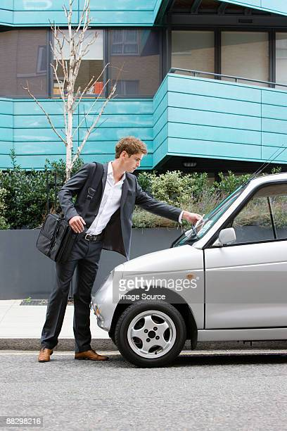 Man with parking ticket