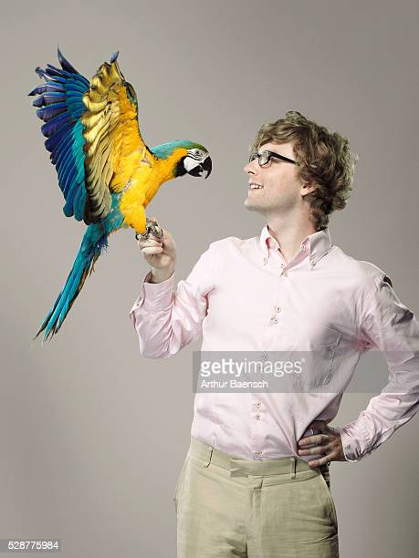 Man with parrot