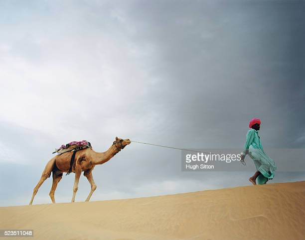 man with pink turban leading a camel in thar desert - hugh sitton india stock pictures, royalty-free photos & images