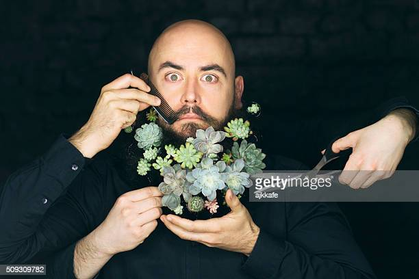 Man with plants in beard