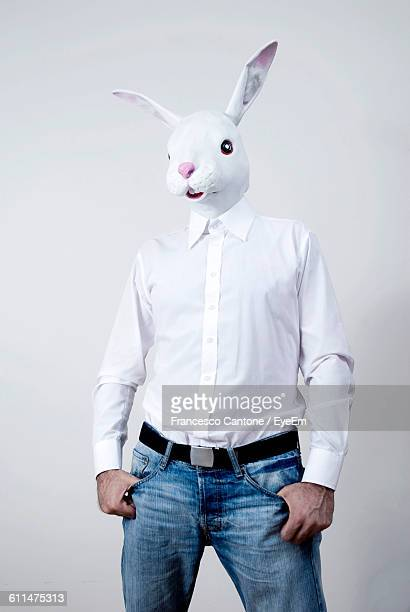 Man With Rabbit Mask Against White Background
