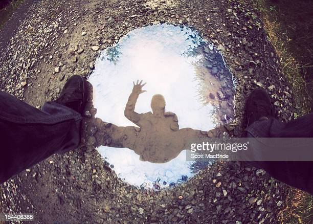 man with reflection - scott macbride stock pictures, royalty-free photos & images