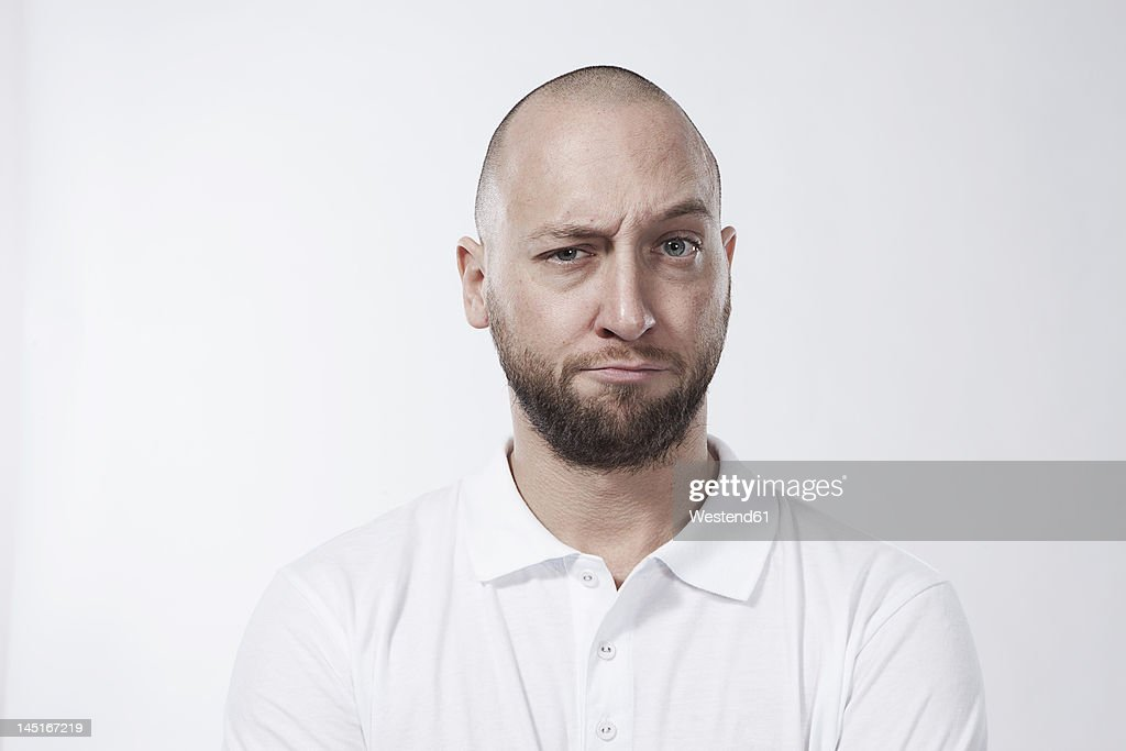 Man with sceptic look, portrait : Stock-Foto