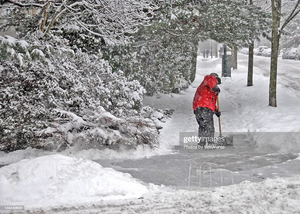 Man with siege at winter : Stock Photo