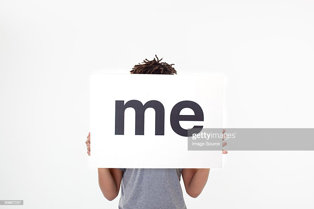 Man with sign that says me : Stock Photo