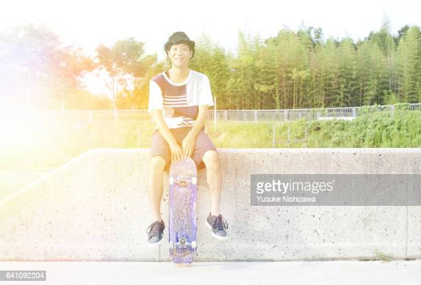 Man with skateboard