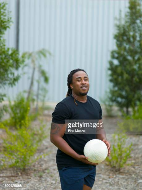 man with soccer ball - fat soccer players foto e immagini stock