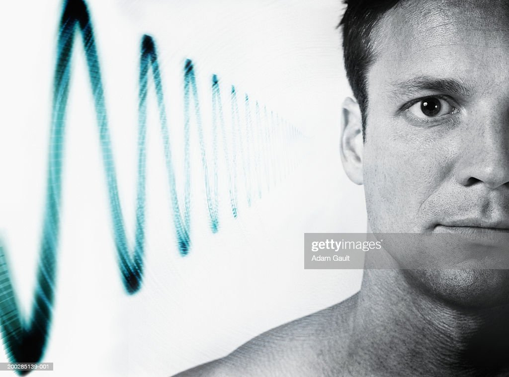 Man with 'soundwave' at side of head (Digital Composite) : Stock Photo