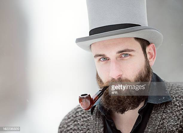 Man with Stovepipe Tophat and Pipe