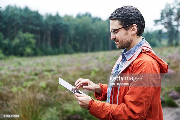 Man with tablet in landscape.