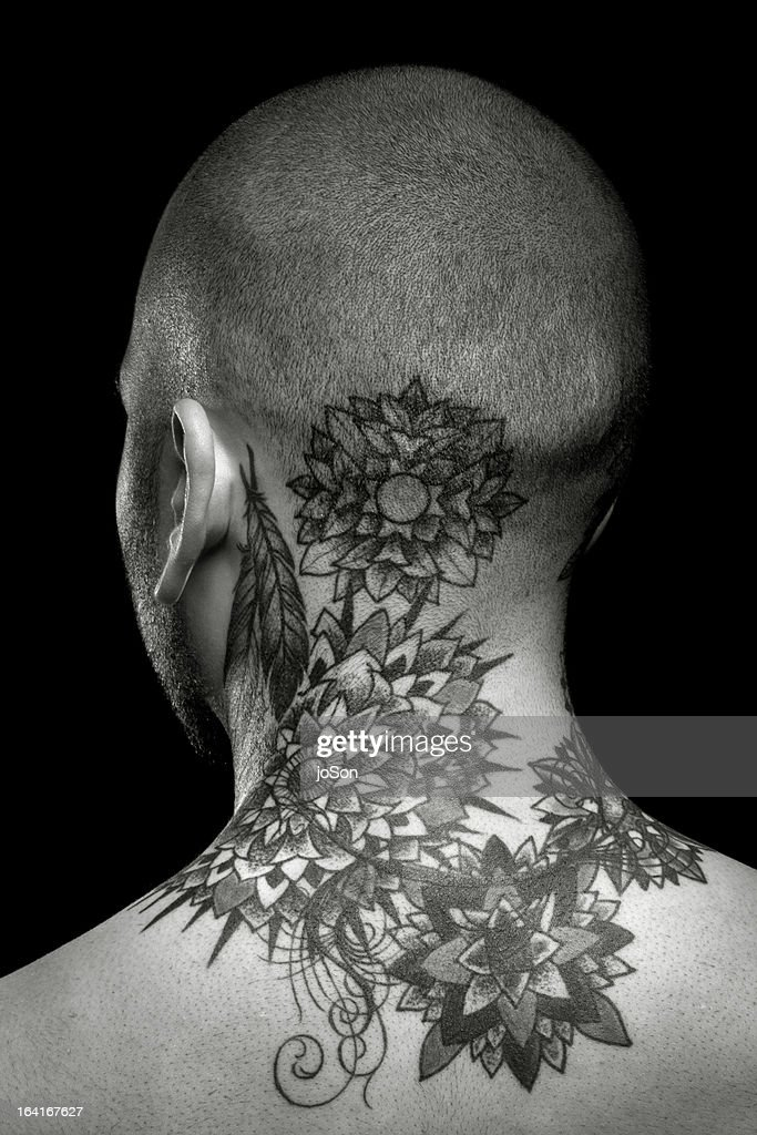 Man with tattoo, bare chested, rear view, : Stock Photo