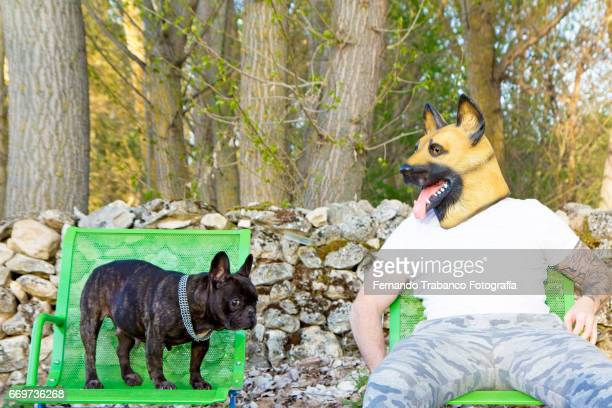 man with tattooed arms and disguised with german shepherd dog mask looks at his little dog sitting next to him. - latex stock pictures, royalty-free photos & images