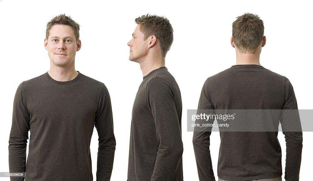 Mann mit drei Posen : Stock-Foto