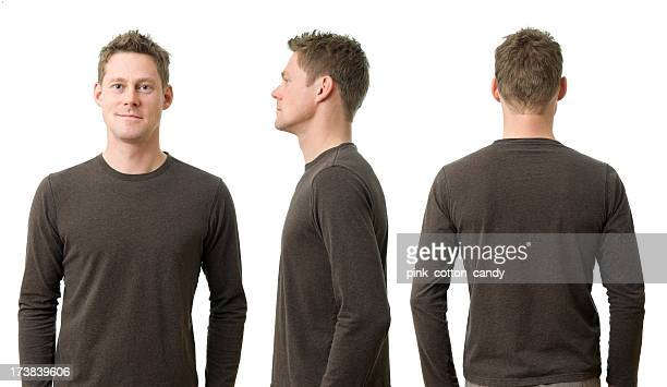 man with three poses - male torso stock photos and pictures
